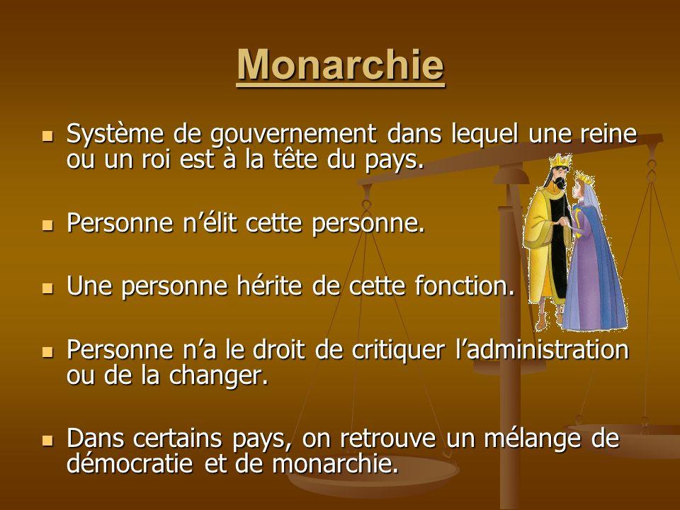 Monarchie Système de gouvernement dans lequel une reine ou un roi est à la tête du pays. Personne n'élit cette personne.