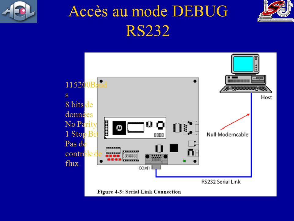 Accès au mode DEBUG RS232 115200Bauds 8 bits de données No Parity