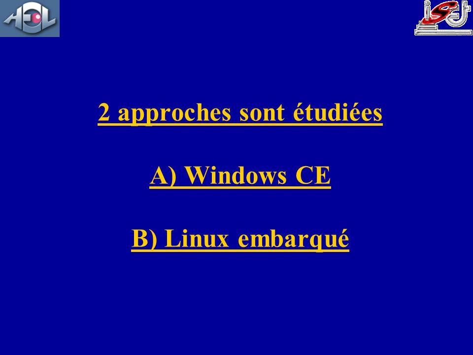 2 approches sont étudiées A) Windows CE B) Linux embarqué