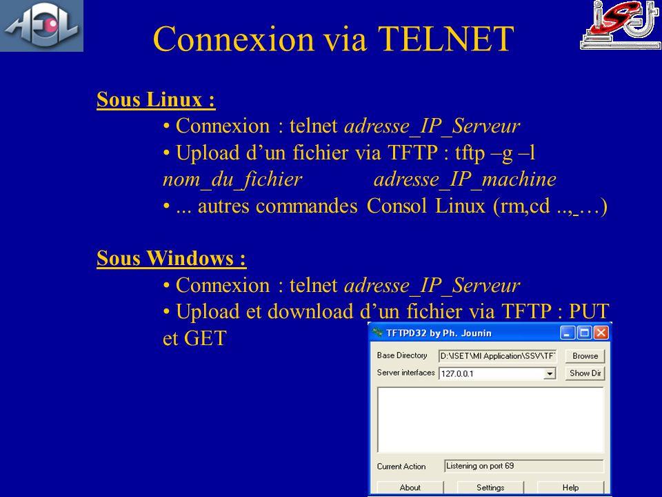 Connexion via TELNET Sous Linux :