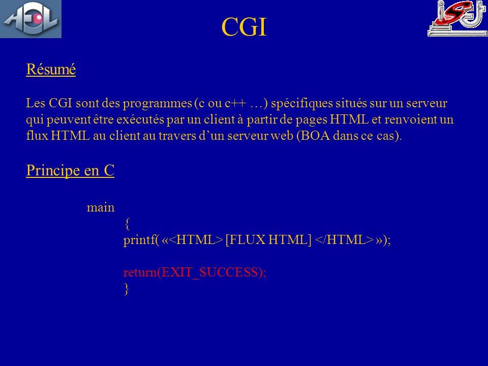 CGI Résumé Principe en C
