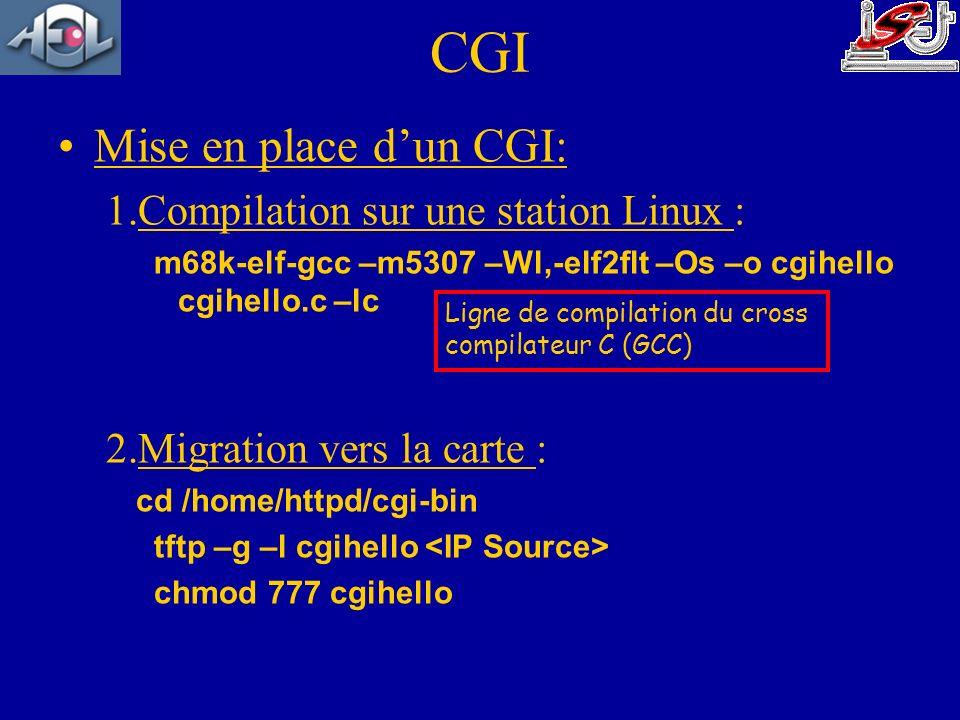 CGI Mise en place d'un CGI: Compilation sur une station Linux :