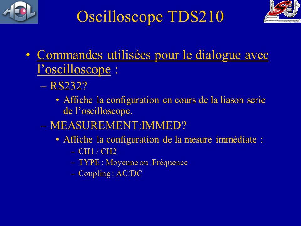 Oscilloscope TDS210 Commandes utilisées pour le dialogue avec l'oscilloscope : RS232
