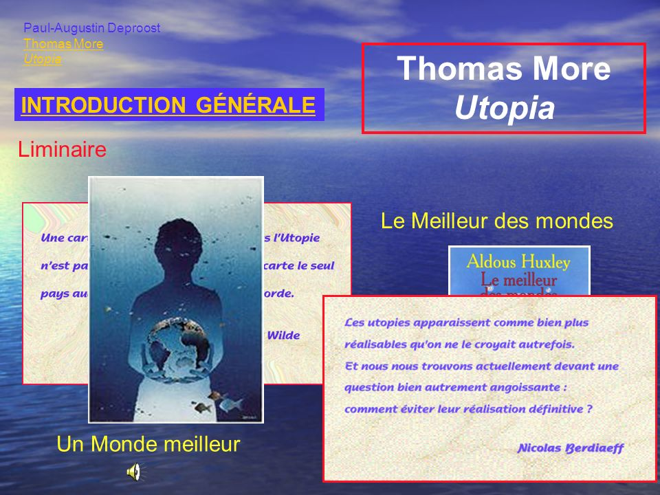 Thomas More Utopia INTRODUCTION GÉNÉRALE Liminaire