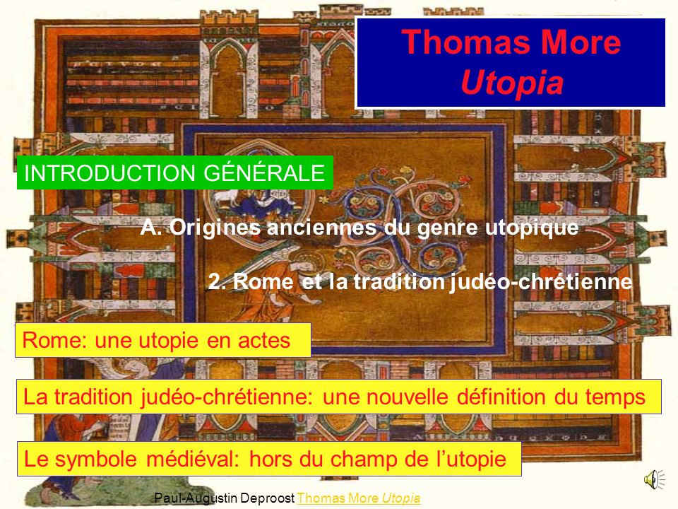 Thomas More Utopia INTRODUCTION GÉNÉRALE