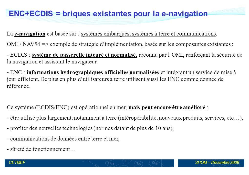 ENC+ECDIS = briques existantes pour la e-navigation