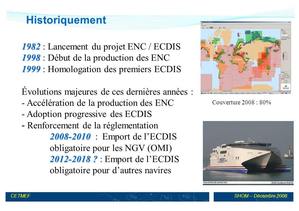 Historiquement 1982 : Lancement du projet ENC / ECDIS