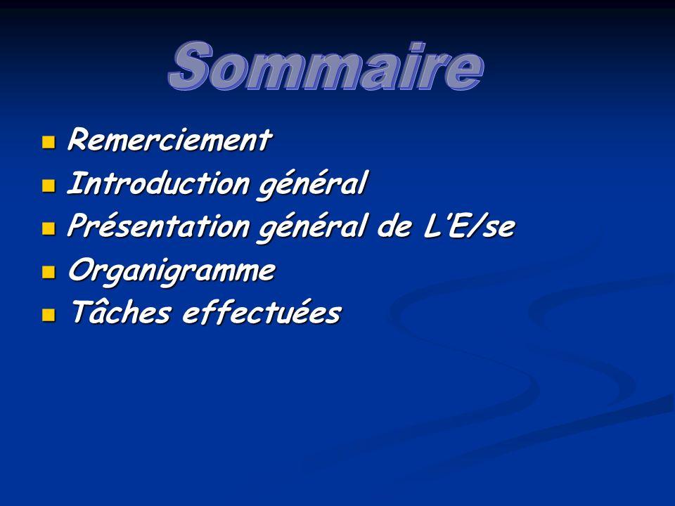Sommaire Remerciement Introduction général