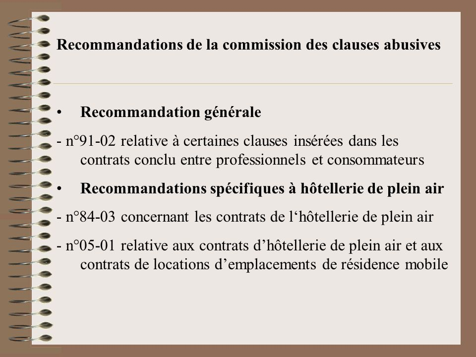 Recommandations de la commission des clauses abusives