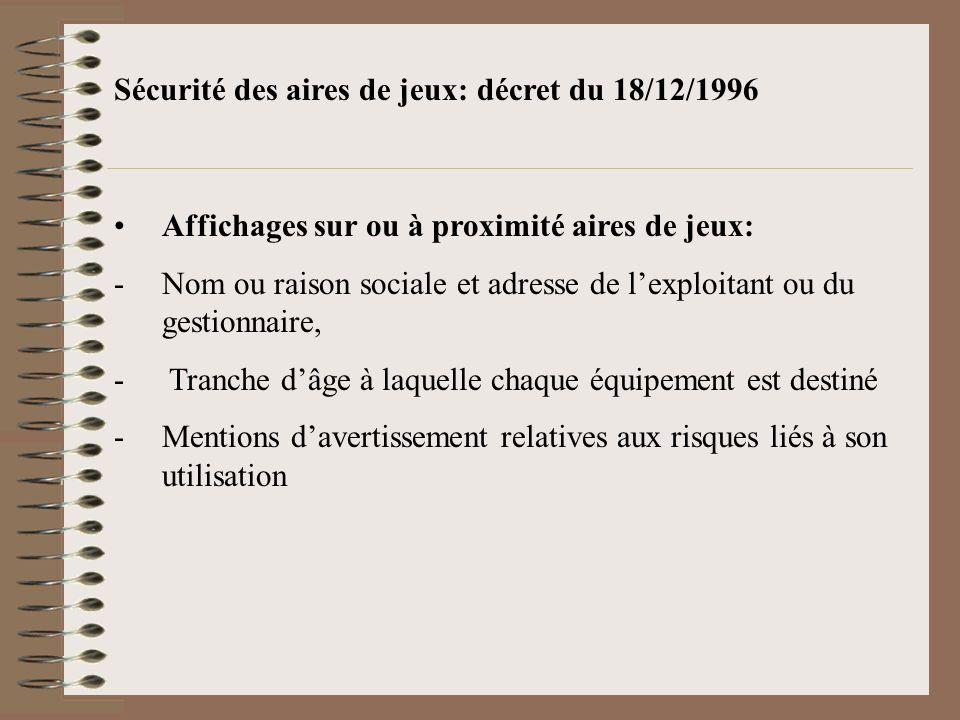 Sécurité des aires de jeux: décret du 18/12/1996