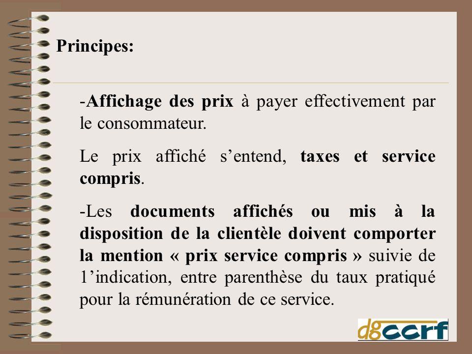 Principes: Affichage des prix à payer effectivement par le consommateur. Le prix affiché s'entend, taxes et service compris.