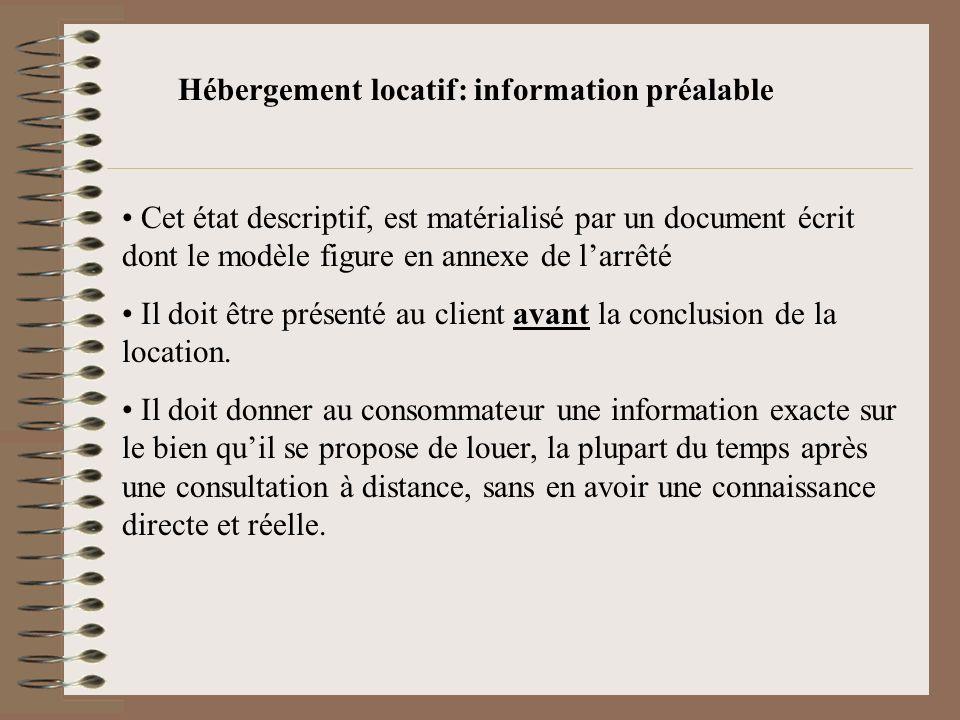 Hébergement locatif: information préalable