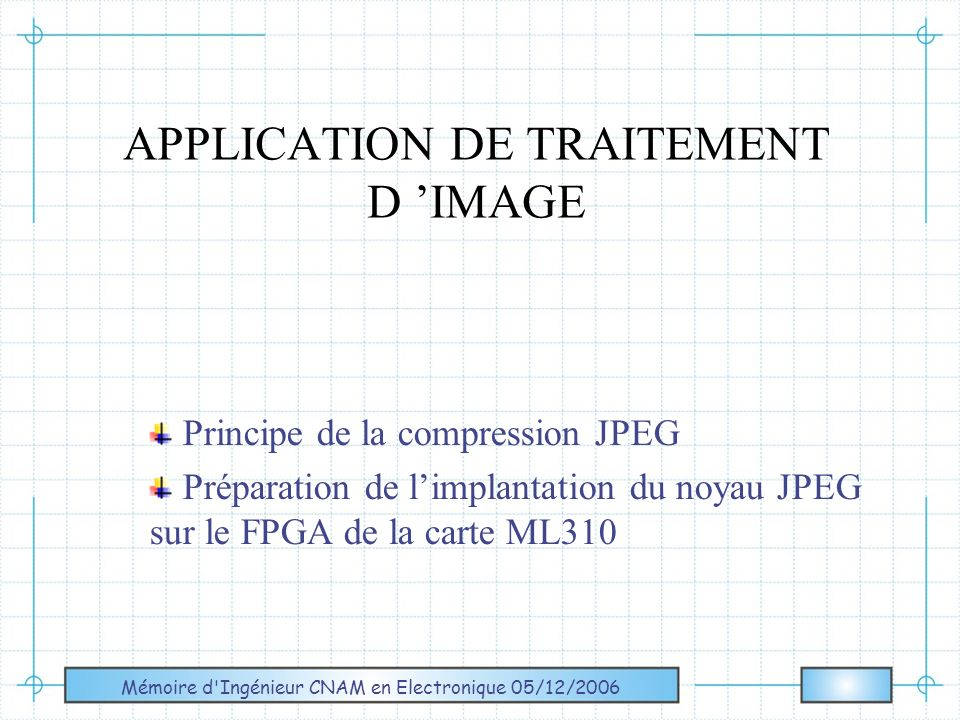 APPLICATION DE TRAITEMENT D 'IMAGE