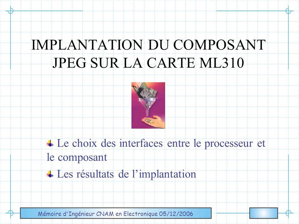 IMPLANTATION DU COMPOSANT JPEG SUR LA CARTE ML310