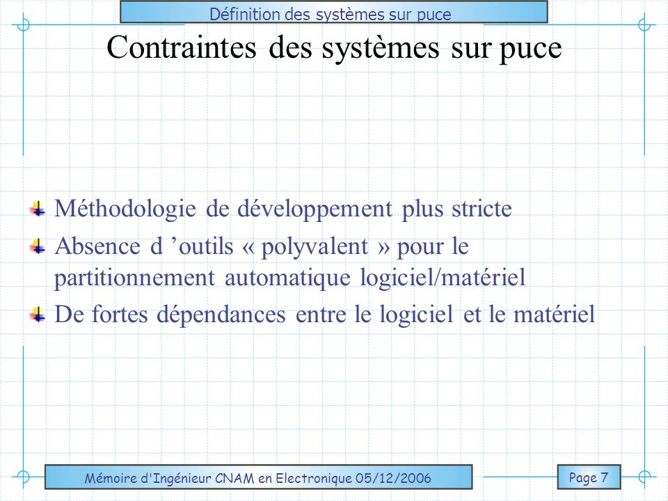 Contraintes des systèmes sur puce
