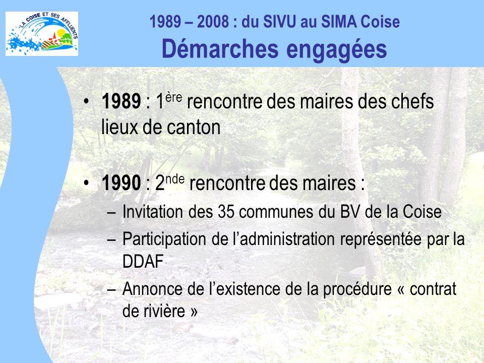 1989 – 2008 : du SIVU au SIMA Coise Démarches engagées