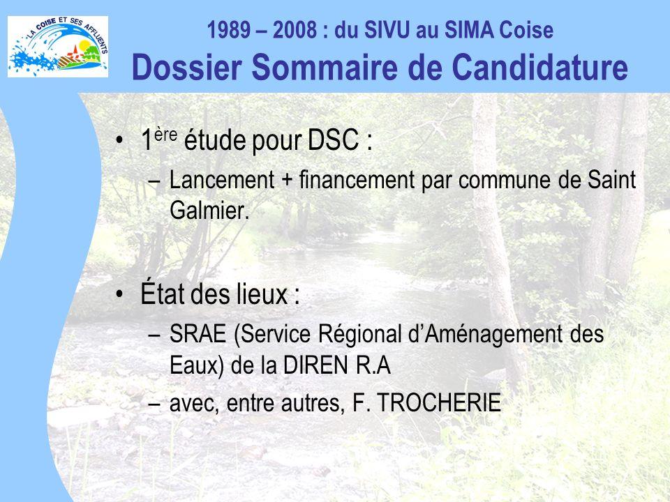 1989 – 2008 : du SIVU au SIMA Coise Dossier Sommaire de Candidature