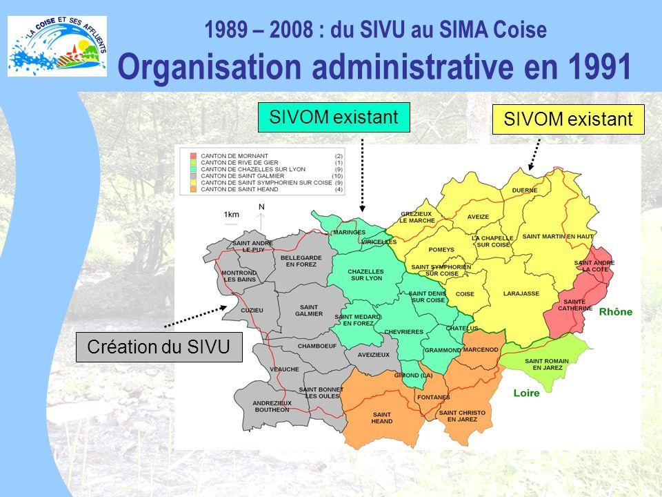 1989 – 2008 : du SIVU au SIMA Coise Organisation administrative en 1991