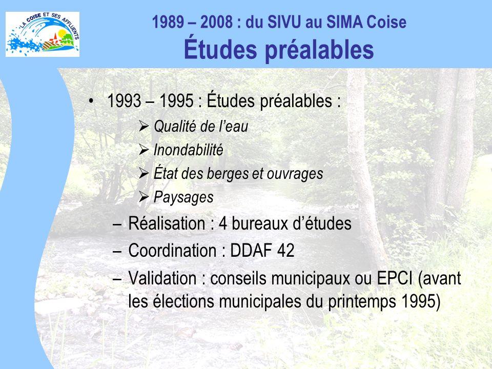 1989 – 2008 : du SIVU au SIMA Coise Études préalables