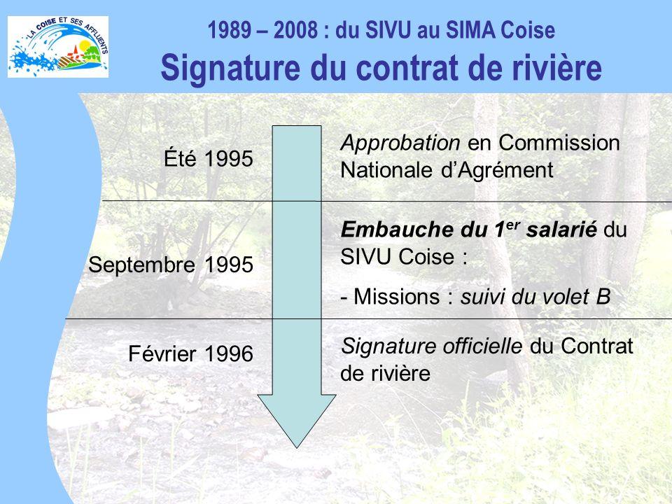 1989 – 2008 : du SIVU au SIMA Coise Signature du contrat de rivière