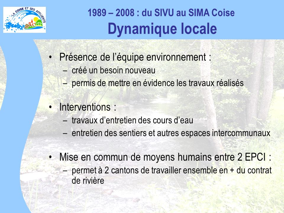 1989 – 2008 : du SIVU au SIMA Coise Dynamique locale