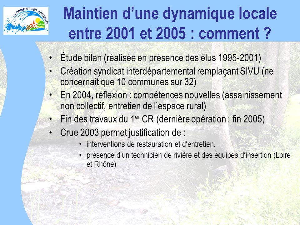 Maintien d'une dynamique locale entre 2001 et 2005 : comment