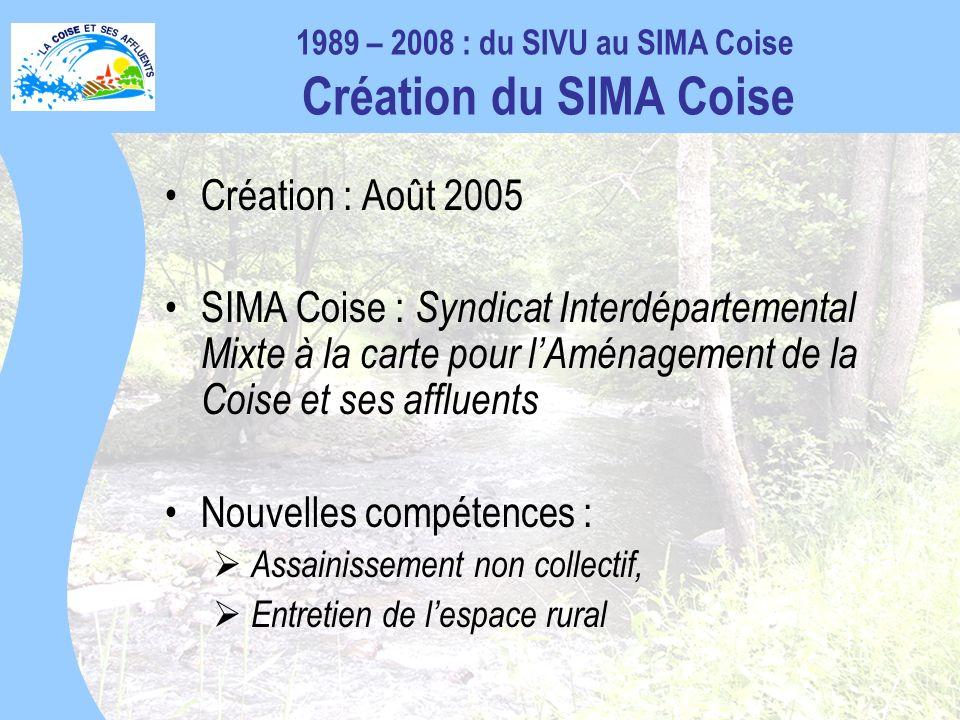 1989 – 2008 : du SIVU au SIMA Coise Création du SIMA Coise