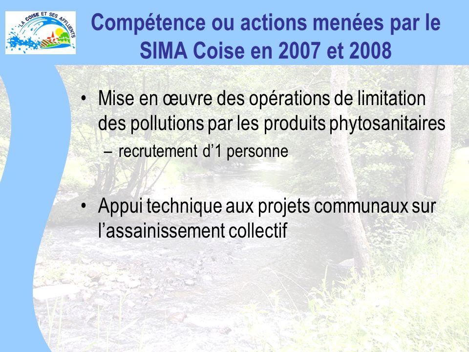 Compétence ou actions menées par le SIMA Coise en 2007 et 2008
