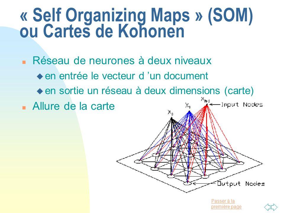 « Self Organizing Maps » (SOM) ou Cartes de Kohonen