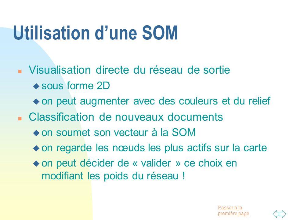 Utilisation d'une SOM Visualisation directe du réseau de sortie