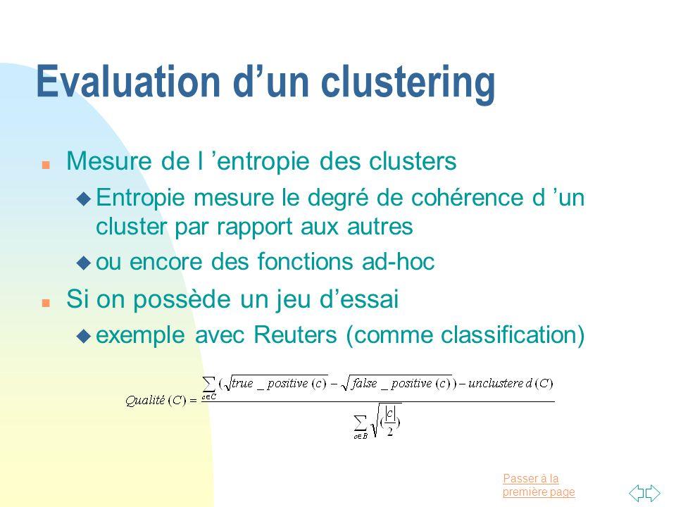 Evaluation d'un clustering