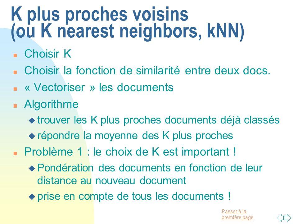 K plus proches voisins (ou K nearest neighbors, kNN)