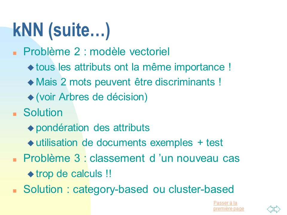 kNN (suite…) Problème 2 : modèle vectoriel Solution