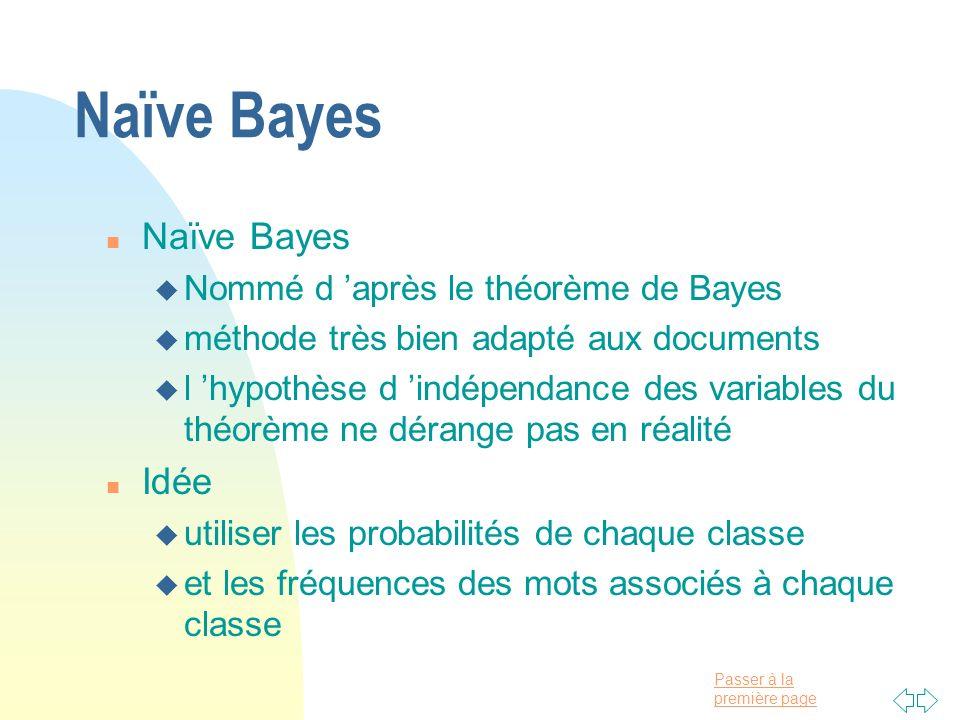 Naïve Bayes Naïve Bayes Idée Nommé d 'après le théorème de Bayes