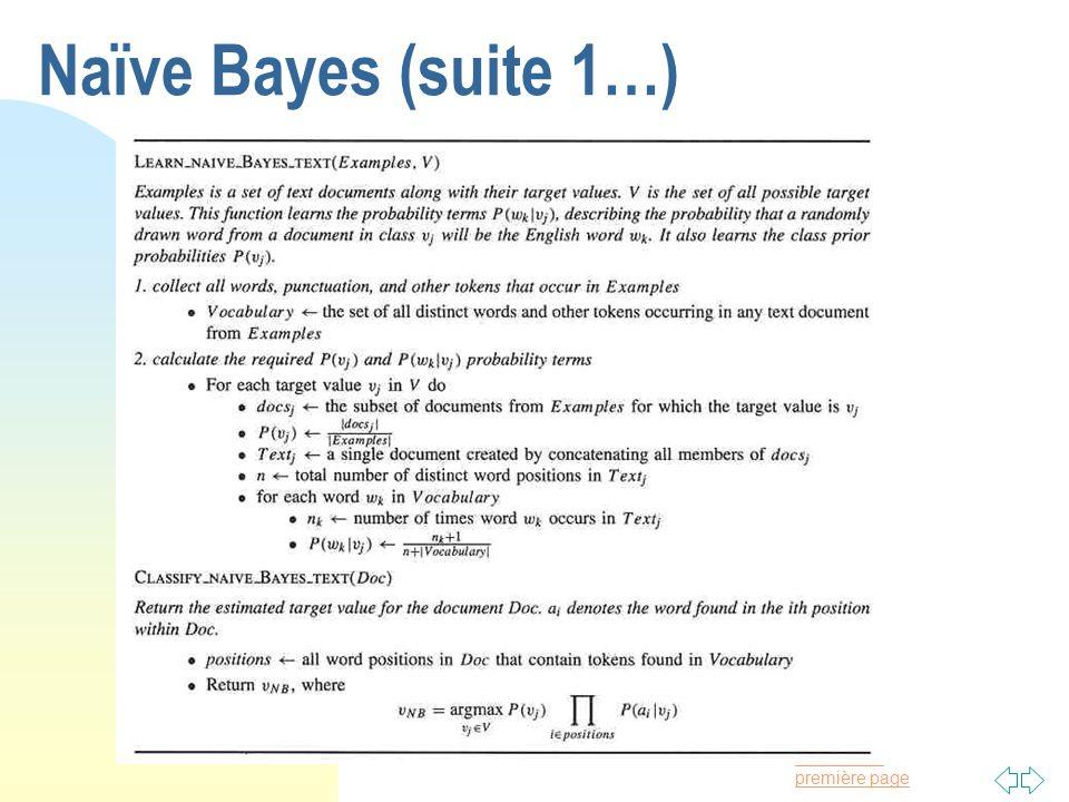 Naïve Bayes (suite 1…)
