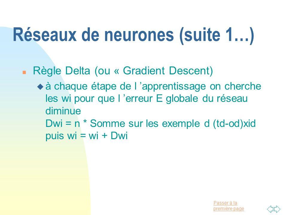 Réseaux de neurones (suite 1…)