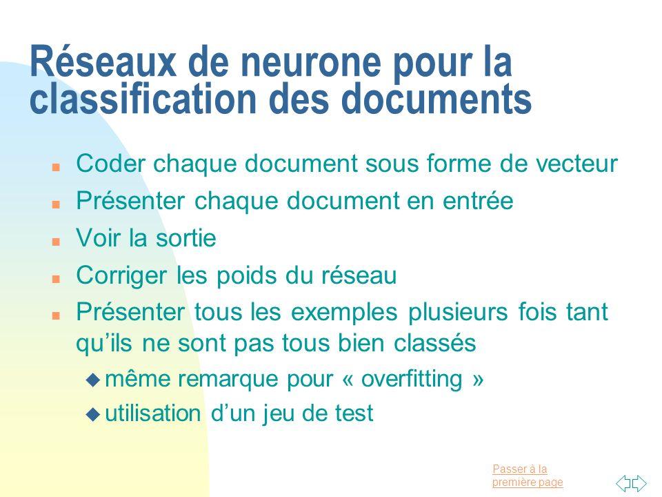 Réseaux de neurone pour la classification des documents