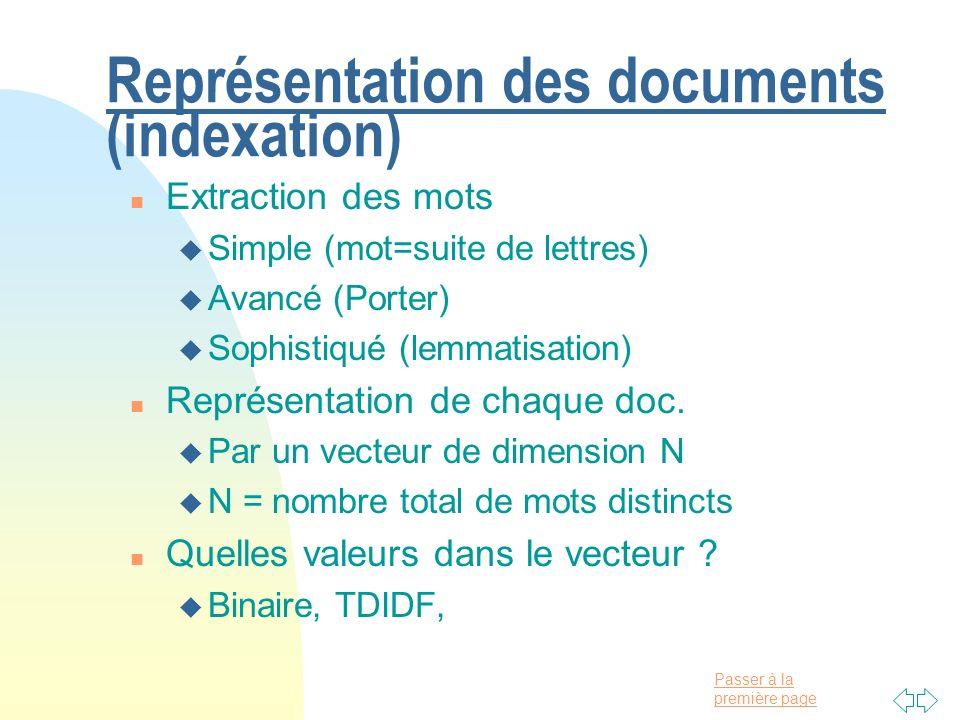 Représentation des documents (indexation)