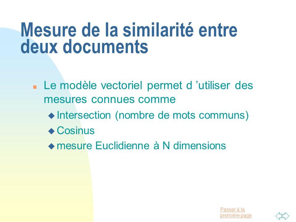 Mesure de la similarité entre deux documents