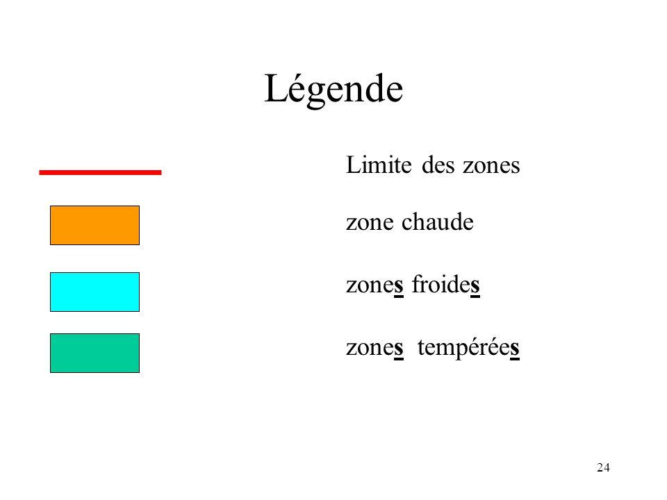 Légende Limite des zones zone chaude zones froides zones tempérées