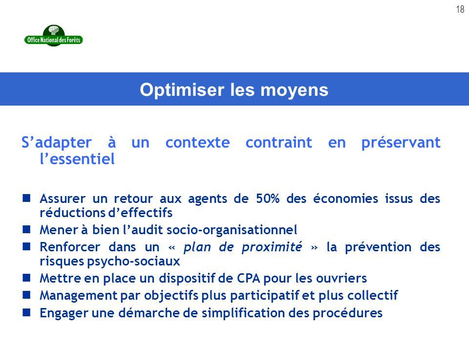Optimiser les moyens S'adapter à un contexte contraint en préservant l'essentiel.