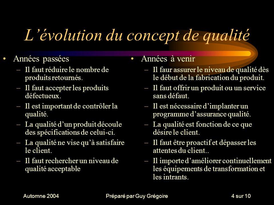 L'évolution du concept de qualité