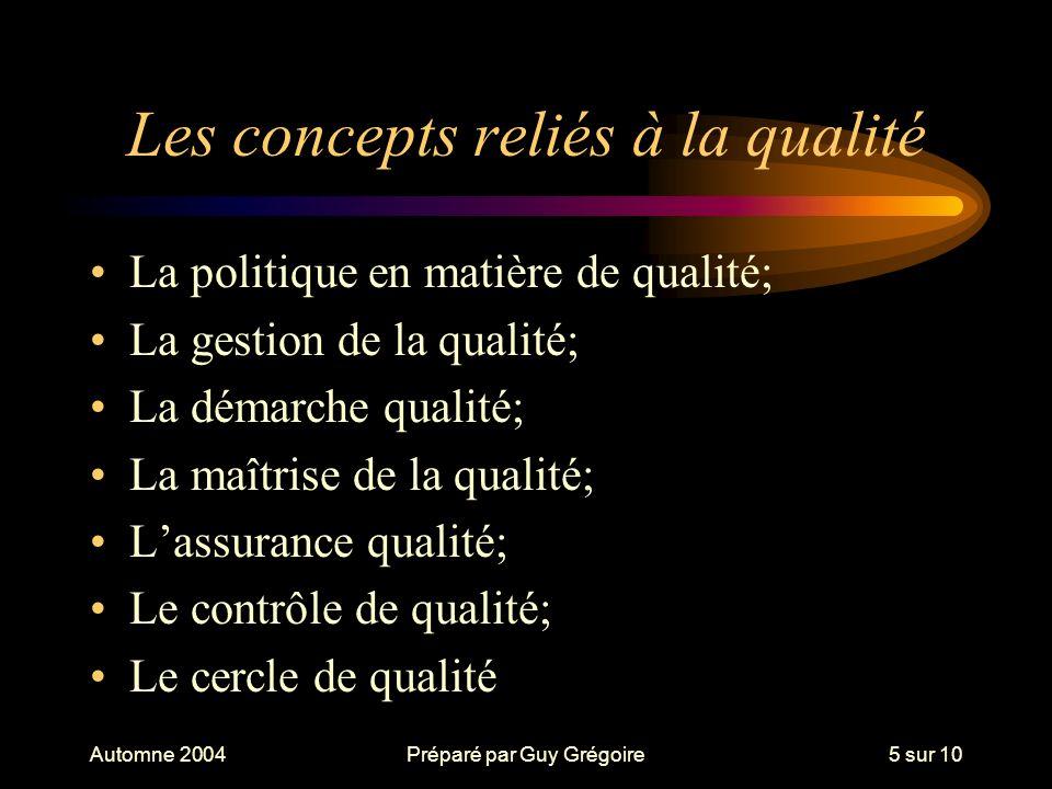 Les concepts reliés à la qualité