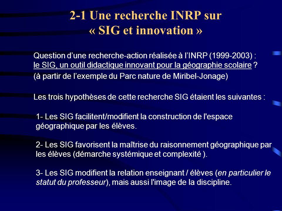 2-1 Une recherche INRP sur « SIG et innovation »