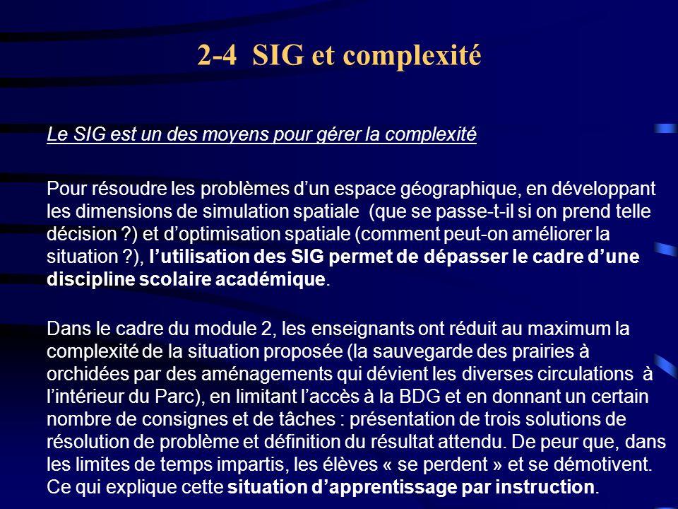 2-4 SIG et complexité Le SIG est un des moyens pour gérer la complexité.