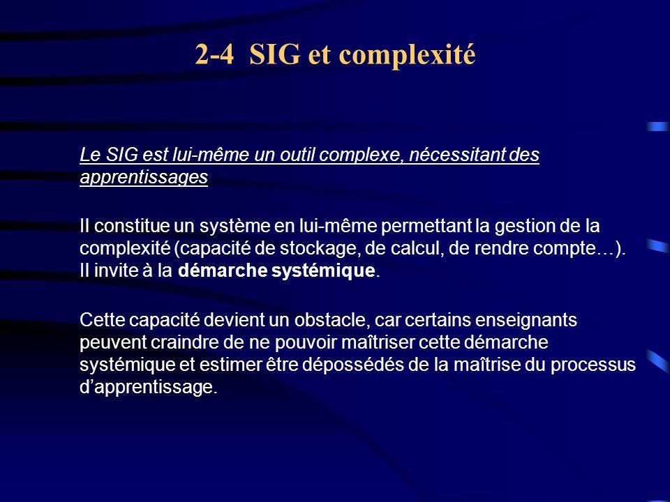 2-4 SIG et complexité Le SIG est lui-même un outil complexe, nécessitant des apprentissages.
