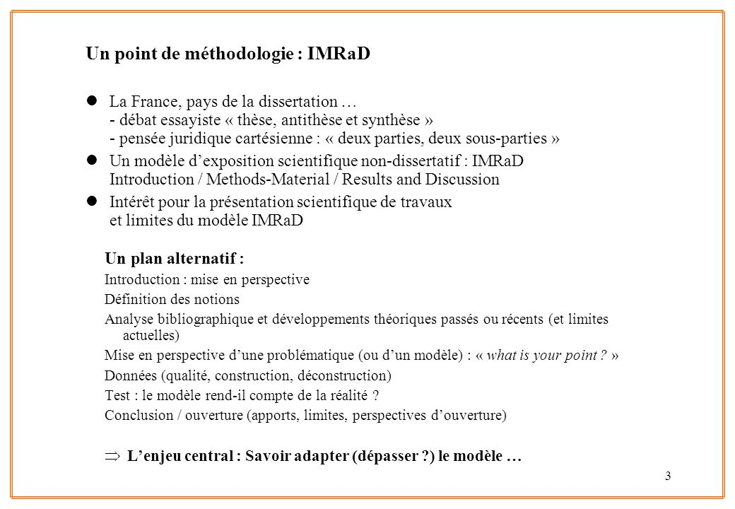 Un point de méthodologie : IMRaD