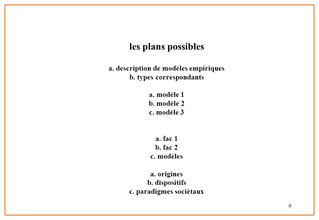 les plans possibles a. description de modèles empiriques b