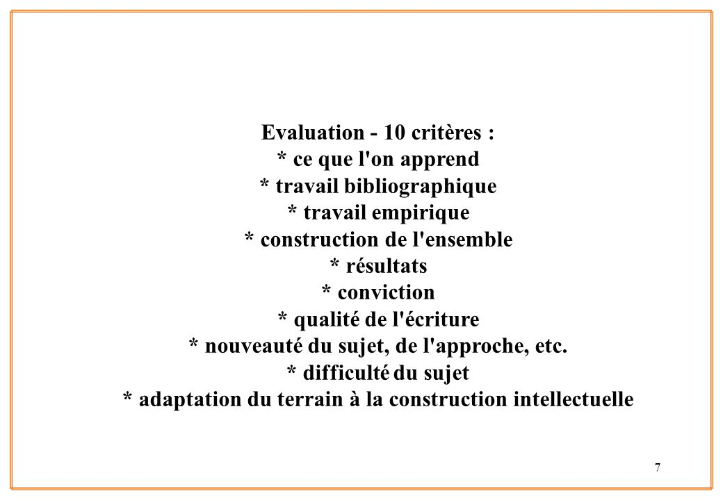Evaluation - 10 critères :. ce que l on apprend
