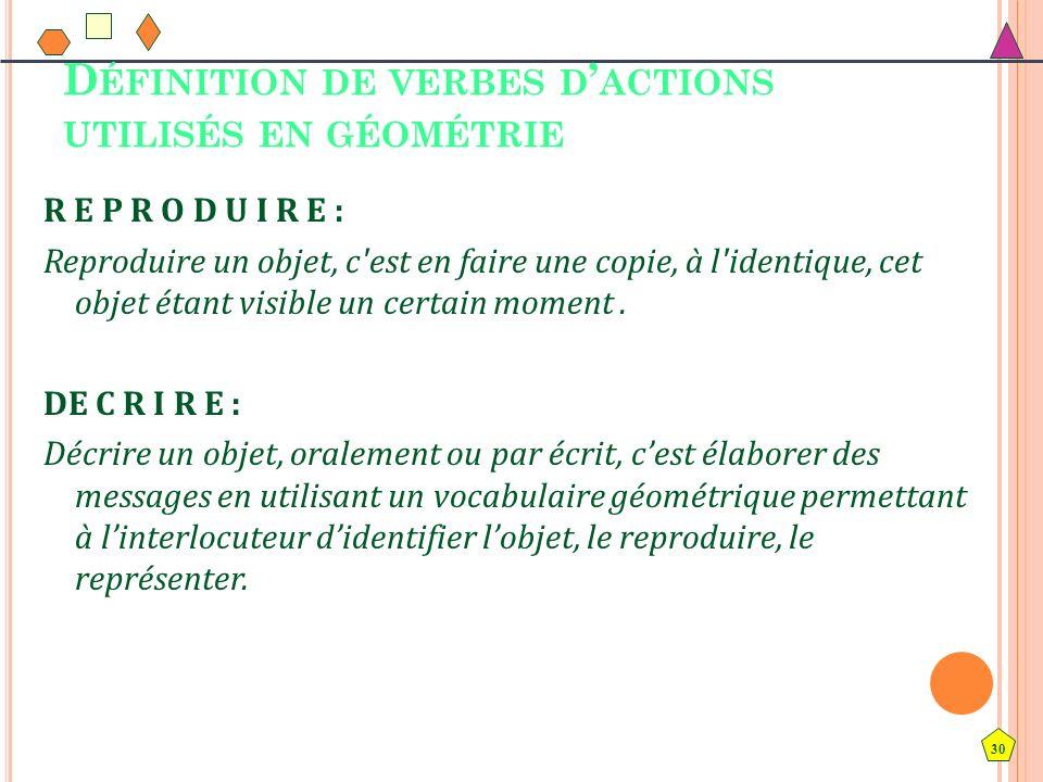 Définition de verbes d'actions utilisés en géométrie